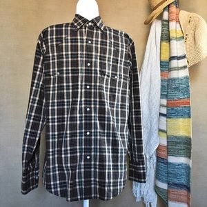 Wrangler Plaid Pearl Snap-Button Shirt Size Med